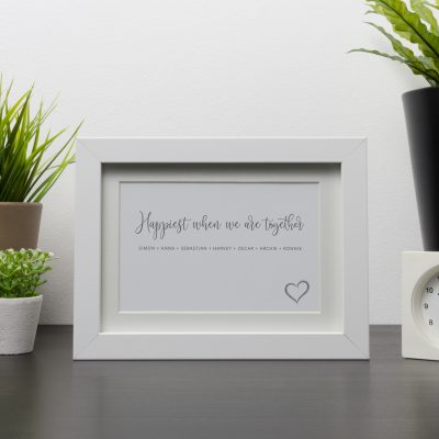 Happiest When we are Together White Frame