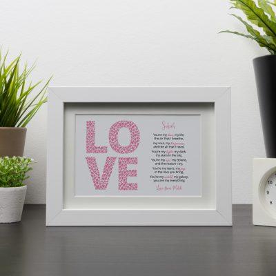 Love Poem White Frame