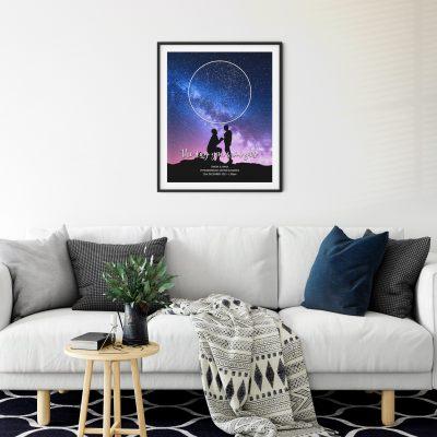 Star Map Black Frame